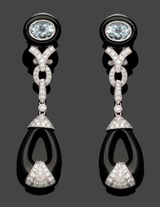 Pair of extravagant diamond-and-Onyx-drop earrings - photo 1