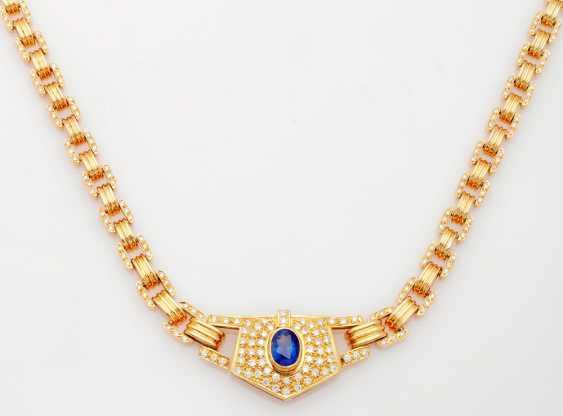 Brilliant necklace with rare Kashmir sapphire - photo 1