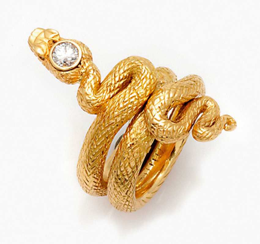 Heavy snake ring with brilliant-solitaire - photo 1