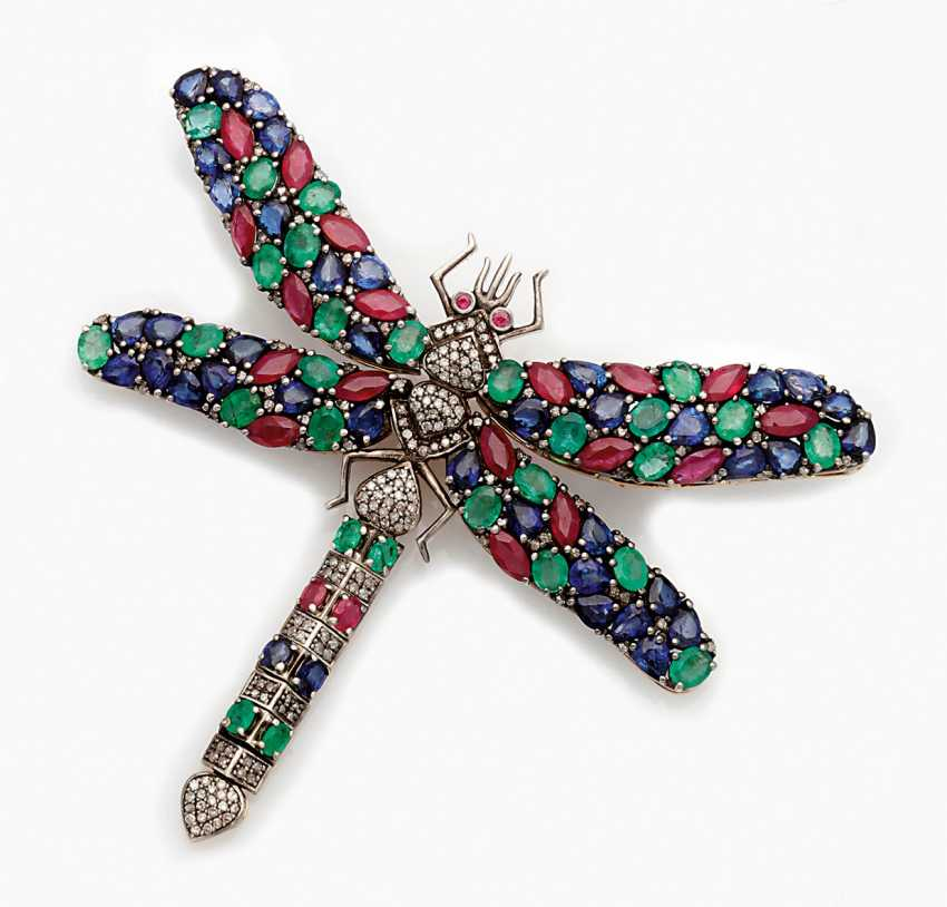 Russian Multicolor Dragonfly Brooch - photo 1