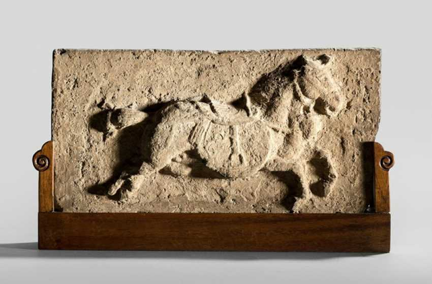 Terracotta Relief with a horse on a wooden - photo 1