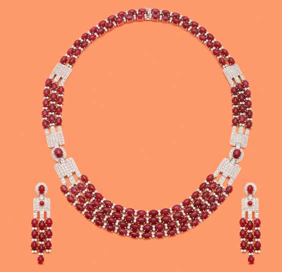 Extraordinary ruby necklace with ear-rings - photo 1