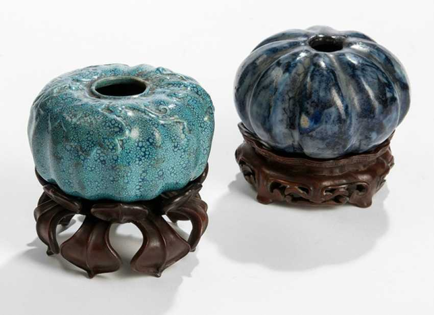 Two brush washer porcelain, turquoise and dark blue glaze - photo 1