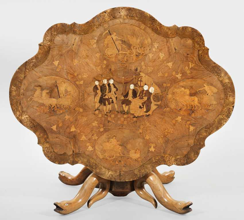 Exceptional salon table with inlaid image - photo 1