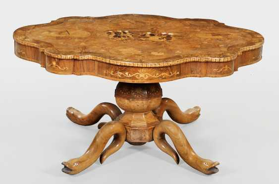 Exceptional salon table with inlaid image - photo 2