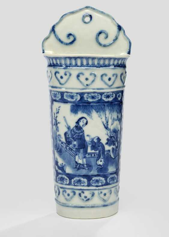Under glaze blue decorated container for chopsticks made of porcelain - photo 1