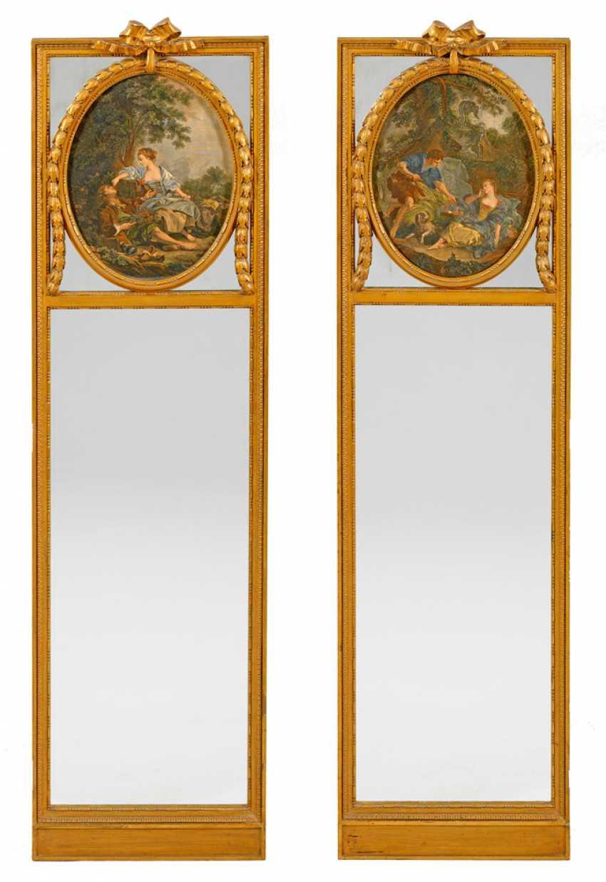 Pair of large Louis XVI-arrow mirror - photo 1