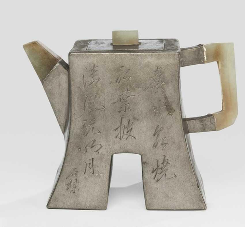 Zisha tea pot with tin cap, engraved by Zhu Jian - photo 1