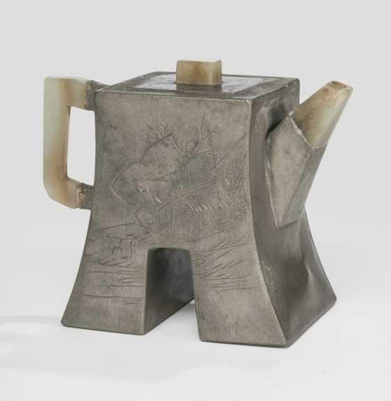 Zisha tea pot with tin cap, engraved by Zhu Jian - photo 2