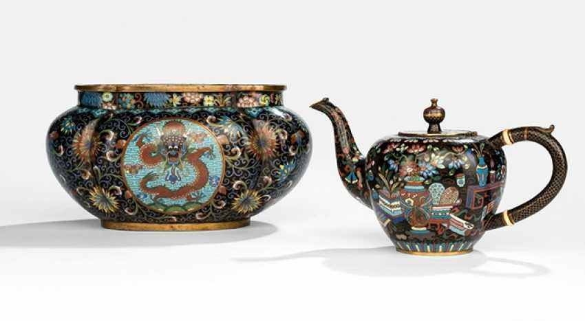 Cloisonne tea pots and Cachepots with a black background, decor, Antiques, or Wear - photo 1