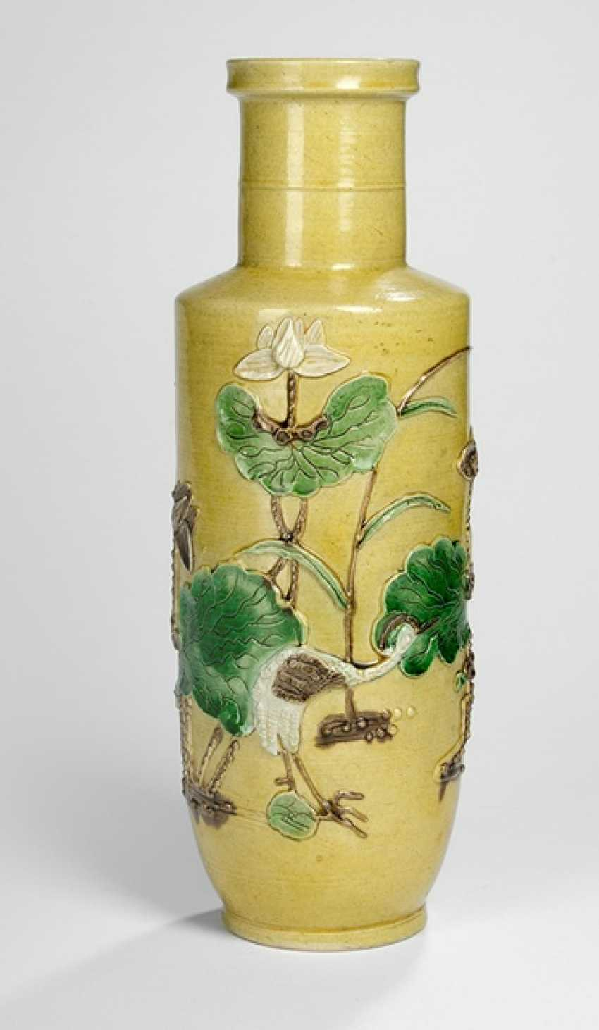 Vase with relief decoration of Lotus and herons on a yellow Fond of Biscuit-porcelain - photo 1