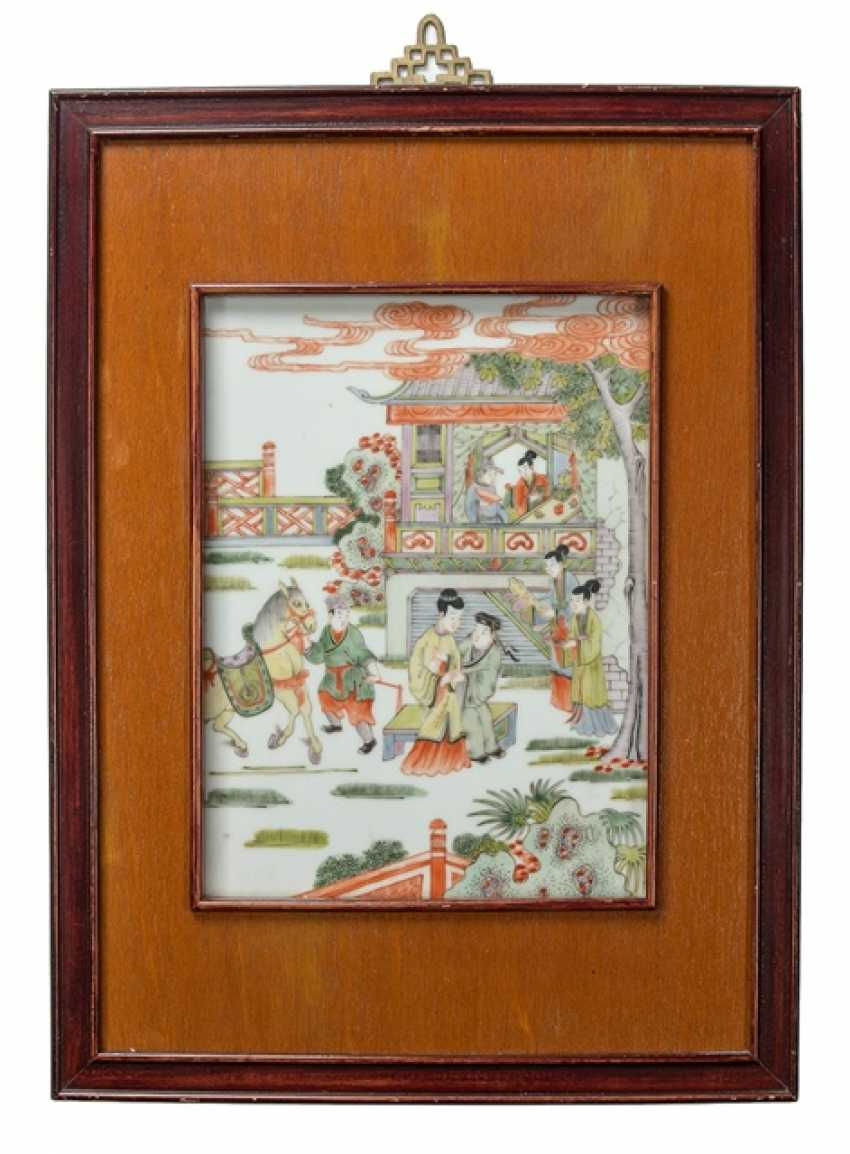 Porcelain plaque with enamel painting of a scene from the Xijiangji - photo 1