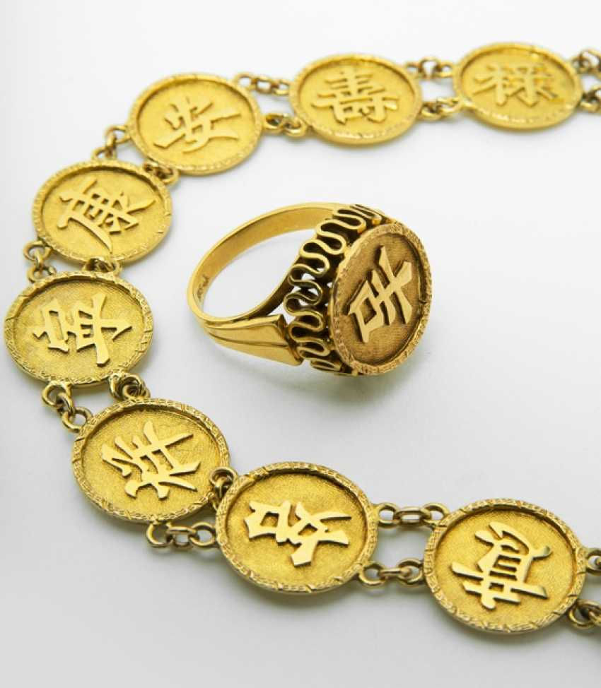 Bracelet with segments of a Circle and inscription, and the Ring is made of 14kt. Gold - photo 2