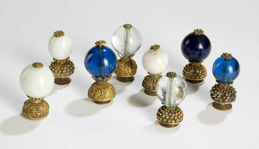 Eight Hutabschlüsse of mandarins in gold plated mounts, 7 glass, 1 crystal - photo 1
