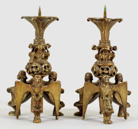 Pair of small candlesticks in a romantic style - photo 1