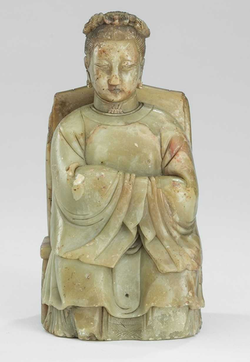 Soapstone figure of a seated lady - photo 1