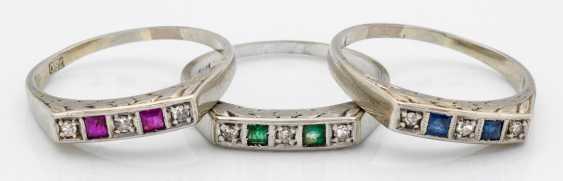 Three Art Deco Band Rings - photo 1