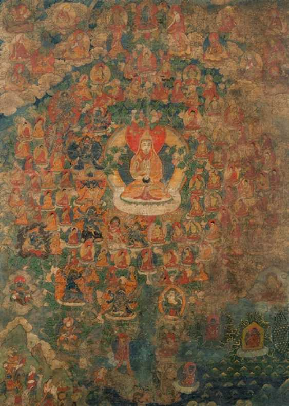 Thangka with depiction of Tsongkhapa and his Lineage - photo 1