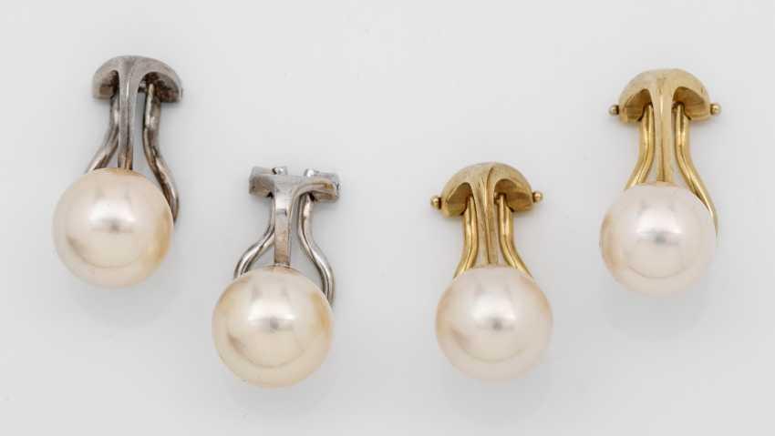 Two Pair Of Akoya Pearl Earrings - photo 1