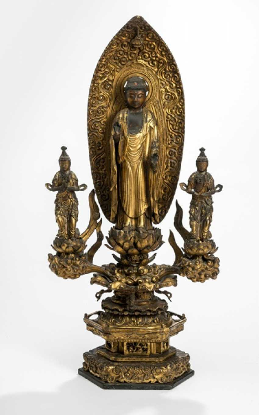 Triad with a representation of the Buddha Amida flanked by two Bosatsu wooden m. Polish version - photo 1