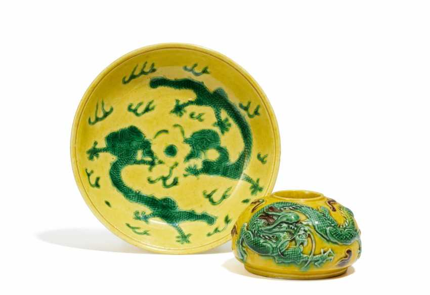 Brush washer and plate with dragon - photo 1