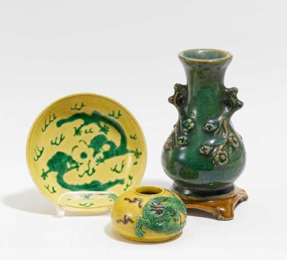 Brush washer and plate with dragon - photo 2