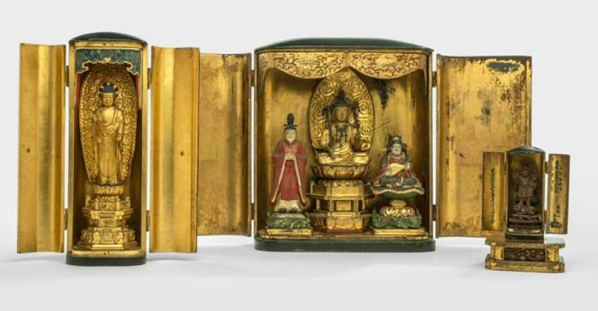 Three Buddhist altar shrines from wood, paint decoration, gilding and frame - photo 1