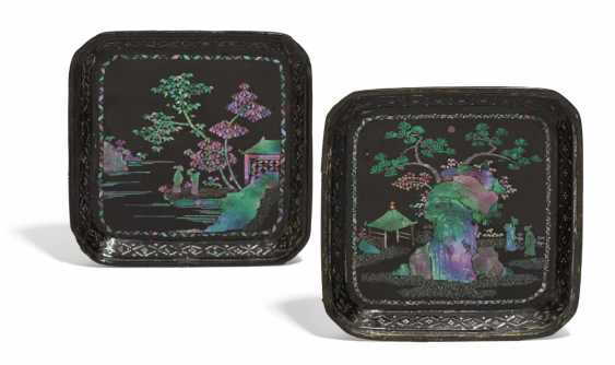Pair of small, rectangular plates with scholars in a garden landscape - photo 1