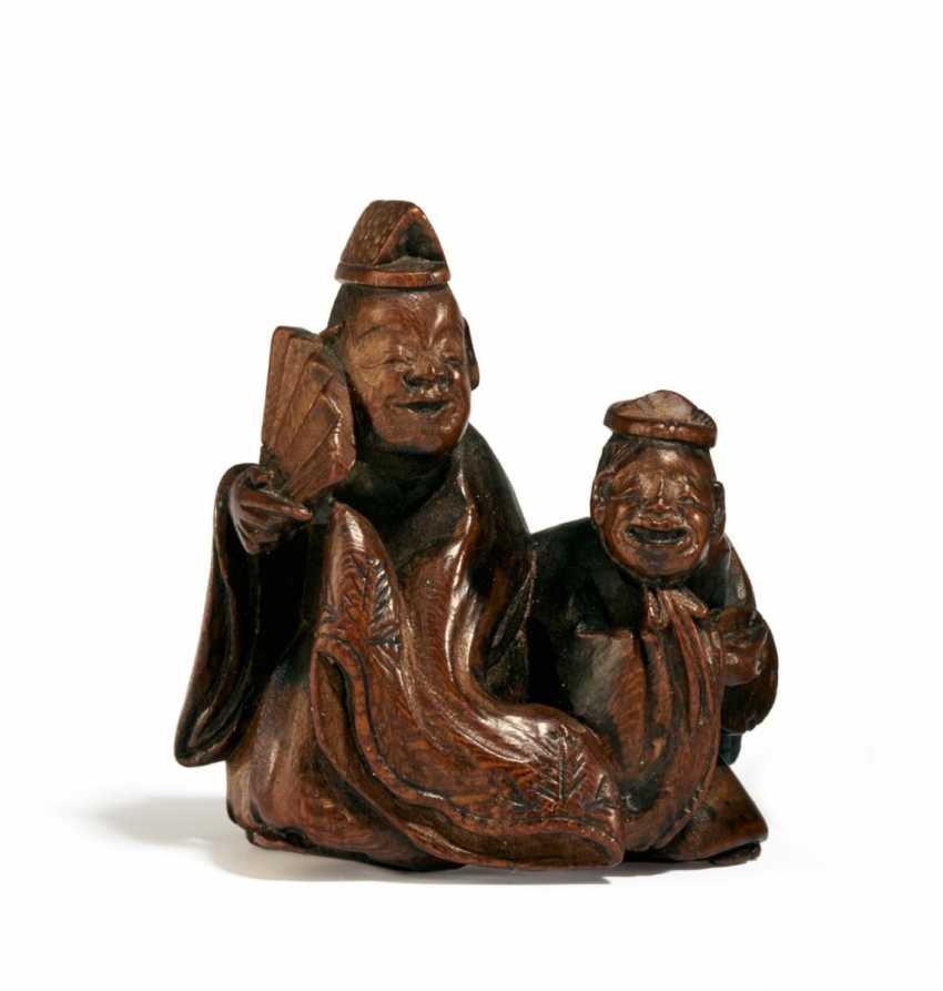 Netsuke: Two Manzai Dancers - photo 1