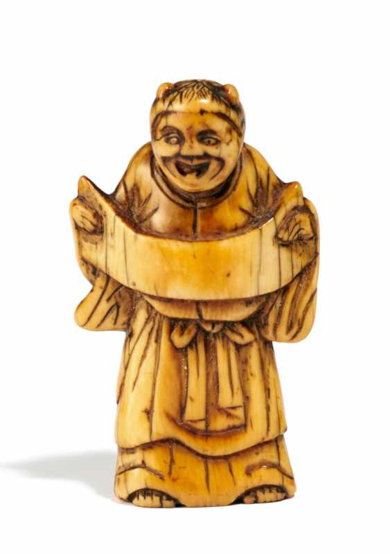Netsuke: Standing Kanzan with a Scroll - photo 1