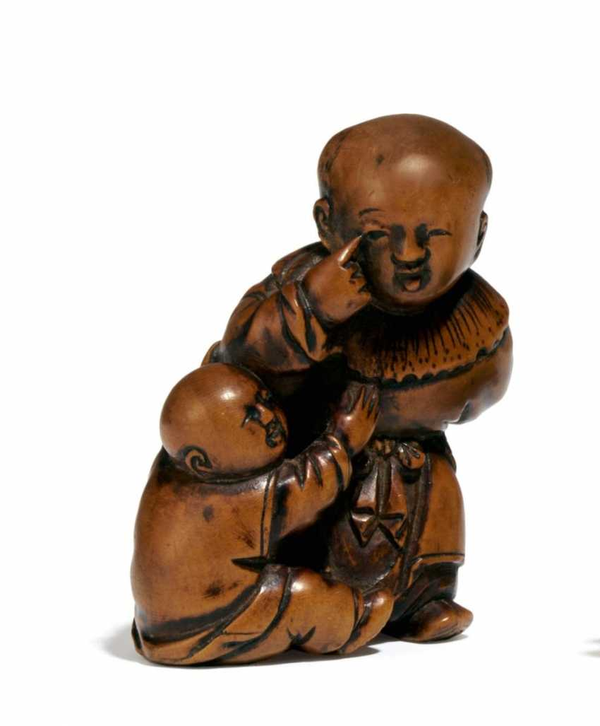Netsuke: Two Karako in bekakko - photo 1