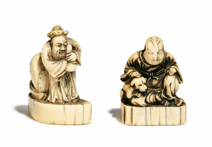 Two Netsuke with Chinese - photo 1