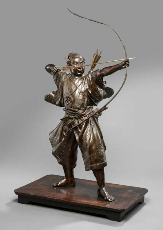 Bronze of an Archer guarding it with a drawn bow - photo 1