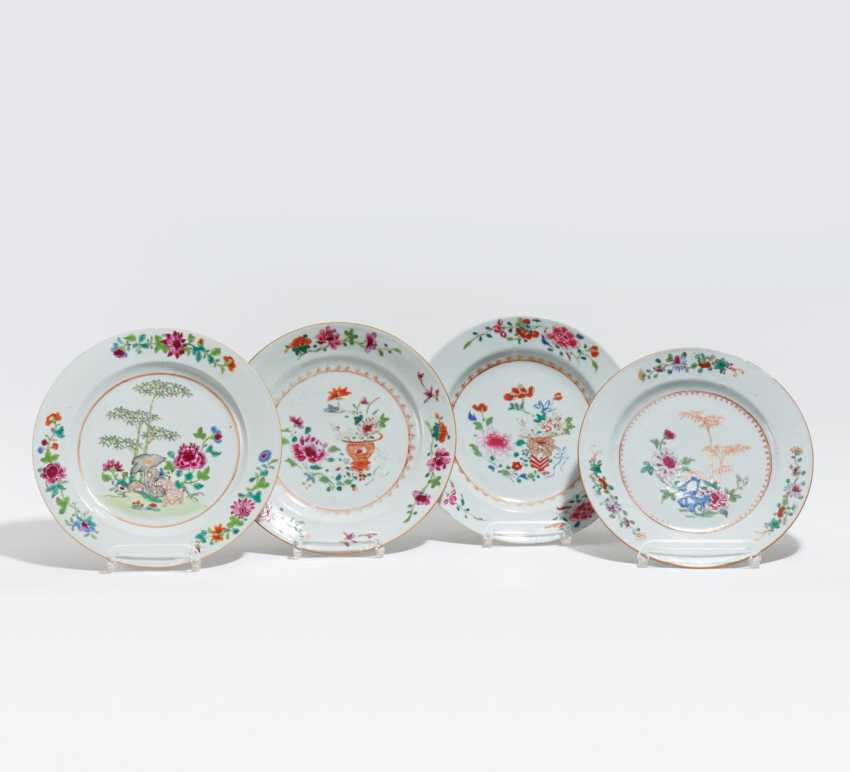 Four export porcelain dish with flowers and bamboo - photo 1