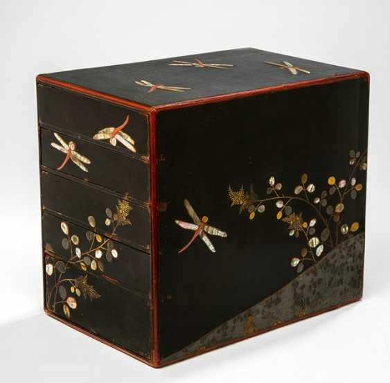 Lacquer Cabinet, with five trays, decoration of dragonflies on black lacquer, rear - photo 1
