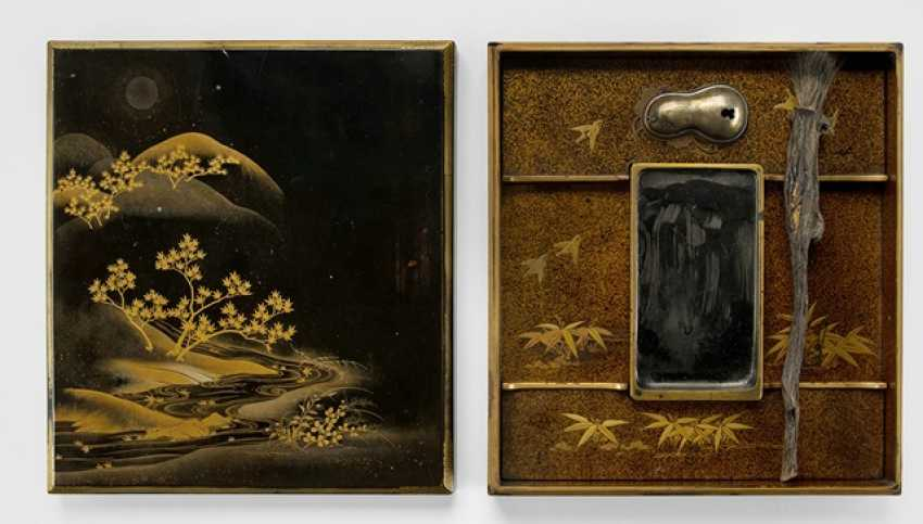 Suzuribako wooden m. decor of a river Bank under a full moon in gold lacquer on a black background - photo 2