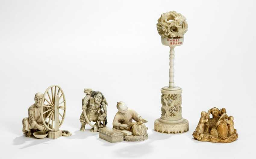 Four of the Okimono including a craftsman and a miracle ball on Stand with dedication and ivory - photo 1