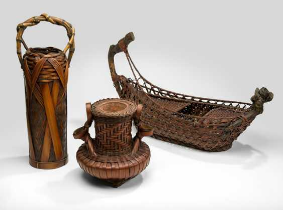 Three Ikebana baskets made of bamboo - photo 1