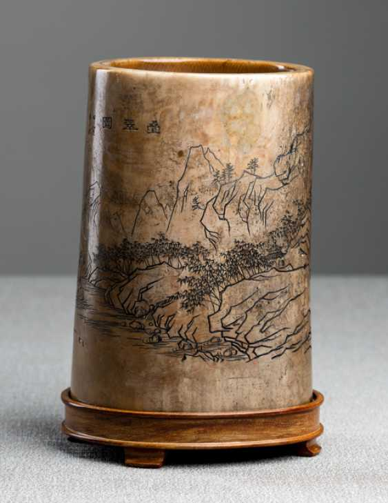 Ivory brush Cup with a depiction of the landscape - photo 1