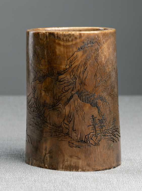 Ivory brush Cup with a depiction of the landscape - photo 3