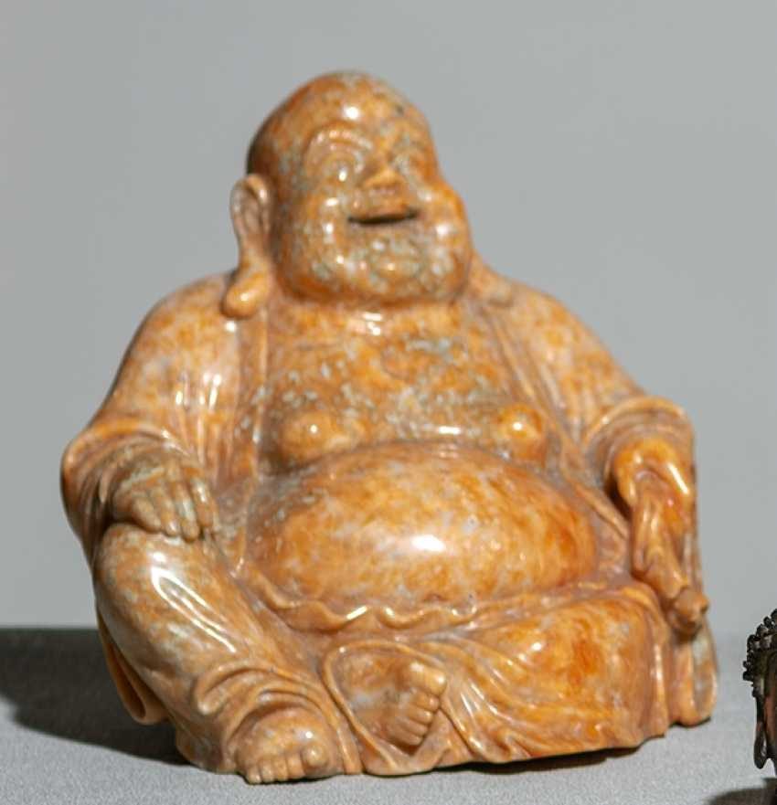Figure of the seated Budai from orange Jasper - photo 1