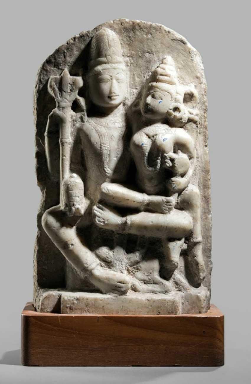 Stele made of Alabaster with a representation of the Umamaheshvara - photo 1