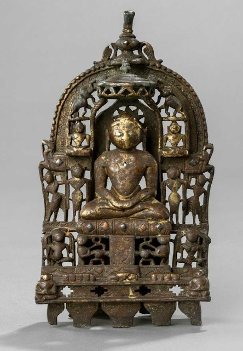 Jain Altar with Tirtankara from brass bronze with silver deposits - photo 1