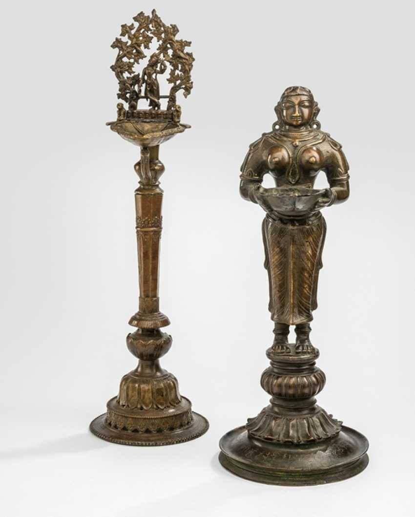 Two oil Lamps made of Bronze, with inscription - photo 1