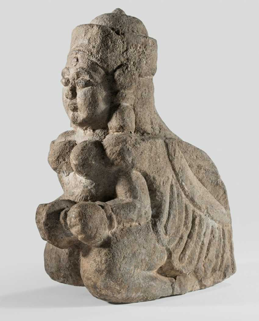 Sand stone figure of a musician with cymbals - photo 1