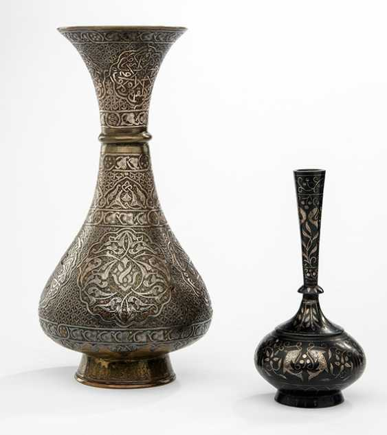Two vases with silver barter arrangements, containers with silver and write stuff in a container - photo 1