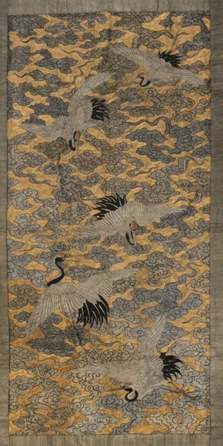 Fine textile blind with representation from five of the cranes between the Golden clouds - photo 1