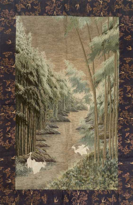 Large silk embroidery with white herons in a landscape with bamboo & river - photo 1