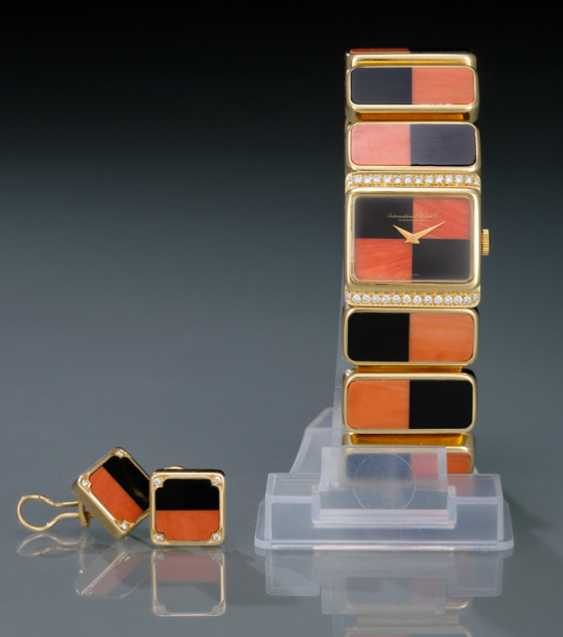 IWC, magnificent diamond ladies wrist watch and earrings m. Corsica, coral & Onyx - photo 1