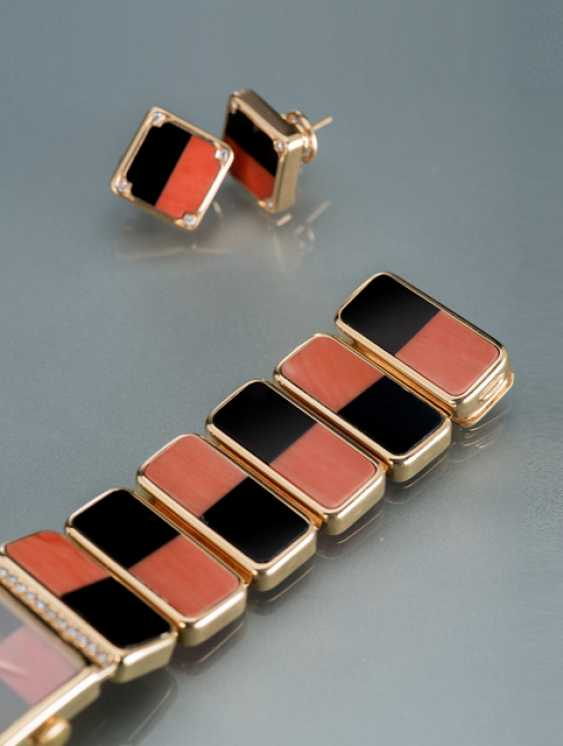 IWC, magnificent diamond ladies wrist watch and earrings m. Corsica, coral & Onyx - photo 5